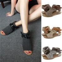 WA Sepatu Sandal Flat Gladiator Open Toe Casual Strap Ankle Wanita Mus