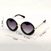 Kacamata Sunglass Bentuk Bundar dengan Bingkai Bentuk Hati, untuk Anak