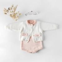 Knitted baby romper baby girl cardigan bayi rajut baju bayi rajut pink