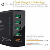 5 Usb Port Fast Charger Aukey Pa-T15 Quick Charge 3 0 - Hitam Promo