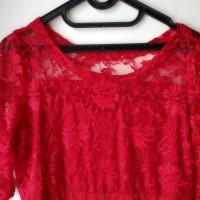 Midi dress gaun brukat merah imlek pesta jumbo xl motif bunga