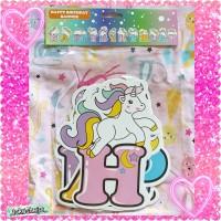 Banner Happy Birthday Jumbo Unicorn Pony Rainbow Backdrop Ulang Tahun