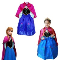 Kostum Anna Frozen Dress Baju Anak Perempuan Gaun Pesta Ultah Import