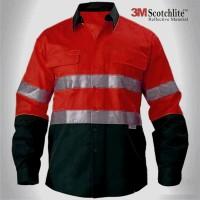 Baju Wearpack Kerja Safety Lapangan Proyek Tambang K3 HSE Merah Navy