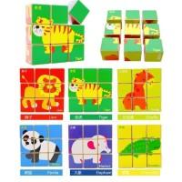 Mainan Kayu / Puzzle Kayu / Puzzle Kubus 3D 6 in 1