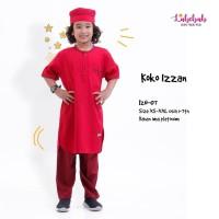 IZN 07 Baju Muslim Setelan Koko Anak Labebah Izzan Red Maroon