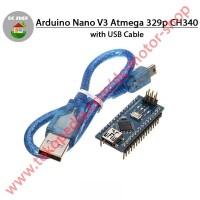 Arduino Nano V3 CH340 Clone Atmega328P Weld / sudah di solder + Kabel