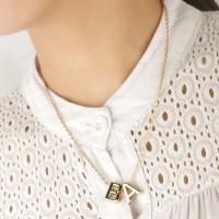Kalung Rantai Bandul Huruf Inisial Alfabet A-Z Lapis Emas untuk Wanita