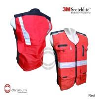Rompi Safety Vest Kerja K3 HSE Lapangan Bandara, Tambang, Proyek MERAH