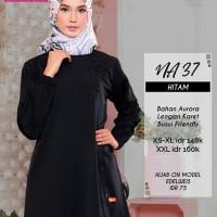 Atasan Nibras NA 37 Warna Hitam Bahan Aurora Tunik Blus Muslimah Busui