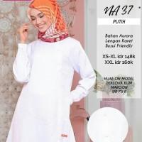 Atasan Nibras NA 37 Warna Putih Bahan Aurora Tunik Blus Muslimah Busui