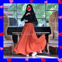 Rok Sifon Panjang Payung Polos Muslimah Chiffon Ceruty Umbrella Skirt