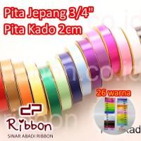 """GROSIR Pita Kado BIASA Jepang/Plastik/Kertas RIBBON POLOS 2cm 3/4"""""""