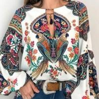 S-5XL Women Bohemian Clothing Plus Size Blouse Shirt Vintage Floral P