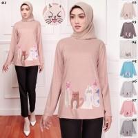 Baju Atasan Kaos Muslim Fashion Wanita Group of Cat Jumbo Murah