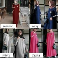 Baju Atasan Wanita Maxi Muslim Saranghae Dress Gamis Bahan Babyterry