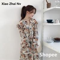 Terbaru Sifon V-neck Berkobar lengan Baju floral Wanita
