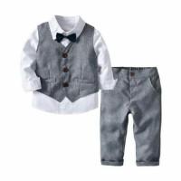 set setelan kemeja vest abu resmi baju pesta anak laki laki impor