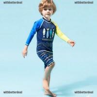 2Pcs / Set Baju Renang Anak Laki-Laki Model Atasan Lengan Panjang Warn