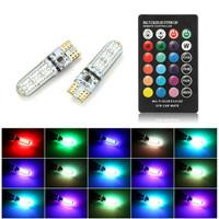 Lampu LED T10 RGB Lampu Senja Mobil Motor Warna Banyak Remote 2Pcs