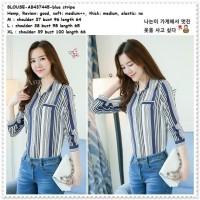 AB437445 Baju Atasan Kerja Kemeja Garis Biru Putih Wanita Korea Import