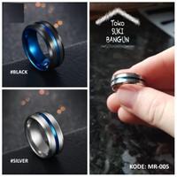 Ring Men / Cincin Pria Titanium Armor BLUE Line Stainless Steel MR-005
