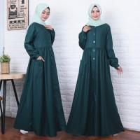 gamis muslim wanita abaya katun kancing terlaris model terbaru