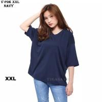 Kaos Jumbo T-Shirt Basic V Neck Polos Pendek Murah Wanita Kekinian