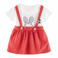 Dress Bayi-Anak Motif Garis Print Bunny