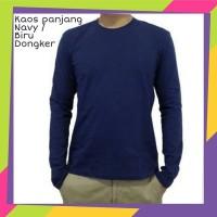 Baju Kaos Polos Lengan Panjang - Biru Navy