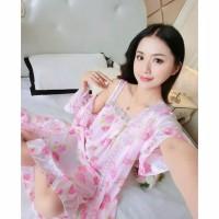Kimono Bunga Jumbo Size Sexy Dewasa Baju Tidur Wanita Murah Seserahan