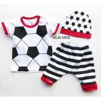 Baju Anak Setelan Atasan dan Celana Motif Karakter Bola Free Topi