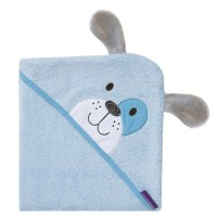 ClevaMama Bamboo Apron Baby Bath Towel - Blue Patch The Puppy