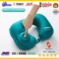 Romix Bantal Leher Travel Inflatable Neck Pillow - RH34 - Biru