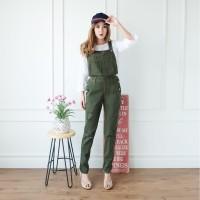 [Jamsuit jeans Army RO]Jumpsuit wanita Jeans Hijau army