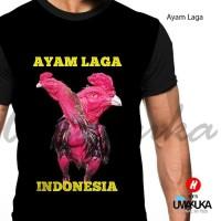 T-Shirt Motif Ayam Laga Full Print Baju Kaos 3D Umakuka Premium Murah