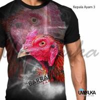 T-Shirt Motif Kepala Ayam 3 Full Print Baju Kaos 3D Umakuka Premium