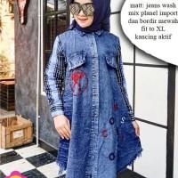 Baju Blouse/Baju Blouse bahan jeans mix planel import