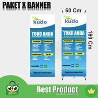 X Banner Agen KUDO 60X160 Gratis Desain Dan Stand - Tiang