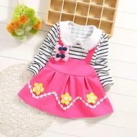 Dress Bayi-Anak Lengan Panjang Garis Dengan Bunga