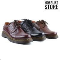 Sepatu Low Boots Docmart Pria Casual Kulit Sapi Asli M1061 - Hitam, 39