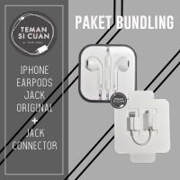 [PAKET BUNDLING] EarPods Apple Iphone Jack 3.5mm OrI + Jack Connector