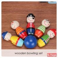 Mainan Anak Wooden Bowling Set Papan Permainan Bowling Bahan Kayu
