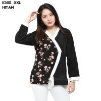Baju Blouse Atasan XXL Jumbo Murah Wanita Kekinian 10615 - Hitam, L