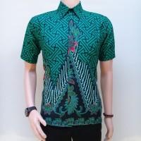 Kemeja Hem Baju Batik Pria Gunungan hijau Toska Modern