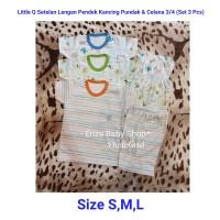 Little Q Set 3 Pcs Setelan Baju Bayi Motif Print Celana Pendek 3/4