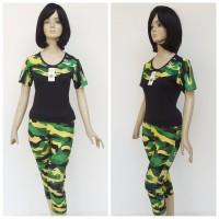 stelan baju senam army hijau - Hijau, M