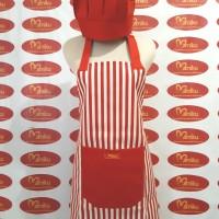 Celemek Canvas Salur Merah Putih Lengkap Topi Koki