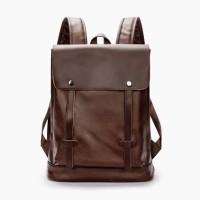 Tas Ransel Kulit Laptop Bag Pria Wanita man Backpack - COKLAT HTI0992
