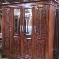 lemari pakaian 4 pintu kayu jati asli
